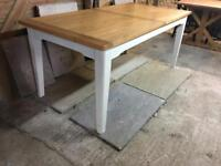 Brand New Oak Top & Cream Painted Kitchen Dining Table