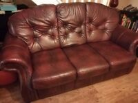 Leather chesterfield 3 piece suite - sofa + 2 armchairs