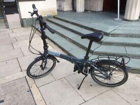 Dahon Vitesse Carbon & Aluminium 7005 Folding Bike, 7 Speed HUB gear, Matt Blue, black fringe
