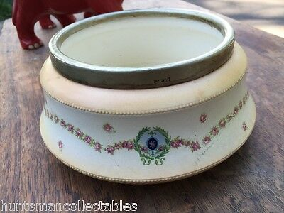 Antique Art Nouveau c1900 Fine Porcelain Bowl with Silver Collar to Top