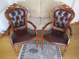 Dark Wood and Leather Carver Chairs x 2