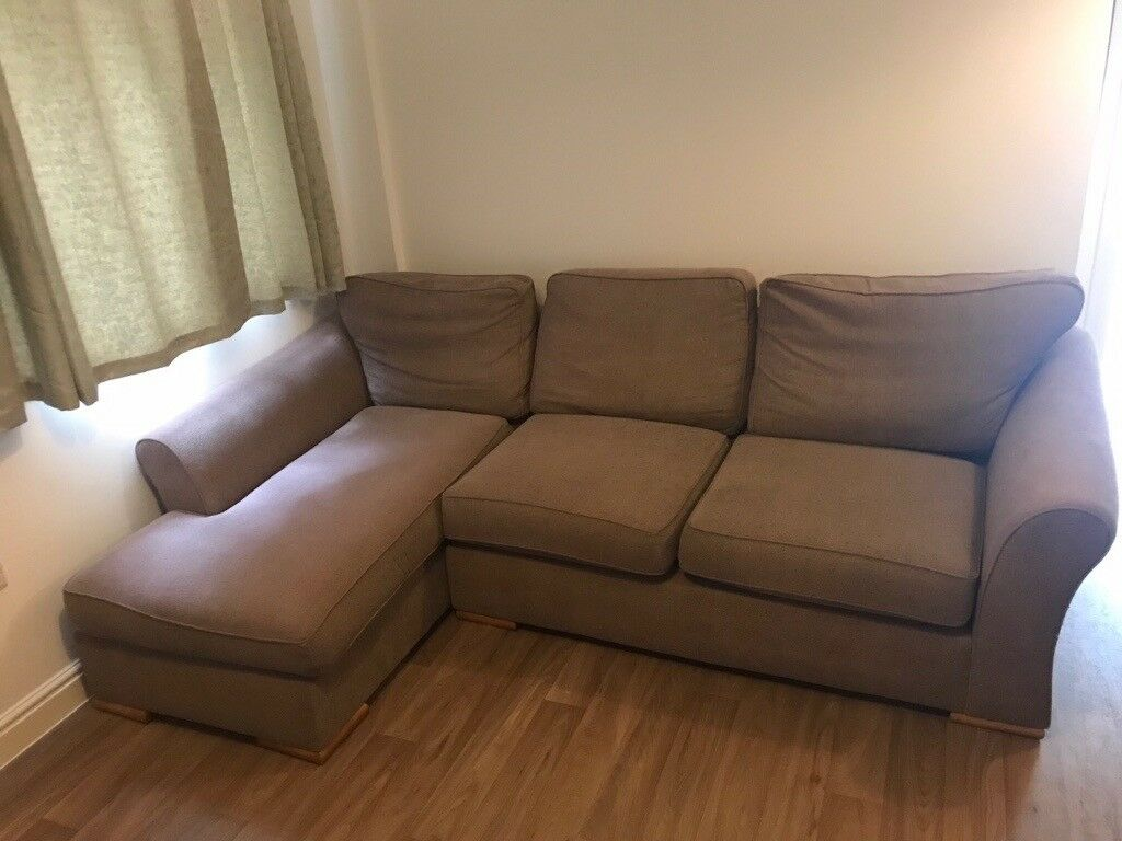 L Shaped Sofa Light Grey Brown Fabric Good Condition In