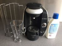 Bosch Tassimo Machine with glass latte cup, pod holder and cleaner