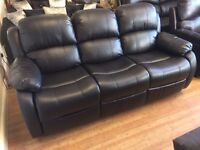 Anton 3 Seat Leather Recliner Sofa in Black - Ex Display - £299 Including Free Local Delivery