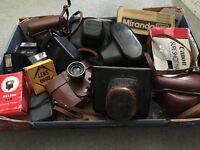 REDUCED!! 7 VINTAGE 35mm FILM CAMERAS WITH ACCESSORIES