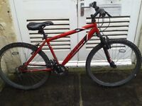 """Red unisex """"Feud"""" 18 gear bike with rear light & bell, great condition but needs chain"""