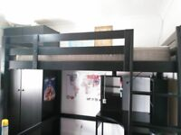 Loft Bed Black Wood (Double Size) and Desk
