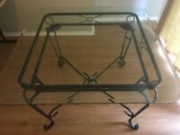 Glass table and 4 chairs. Great condition, sits beautiful in the middle or corner of the room.