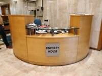 Reception desk glass curved with draws