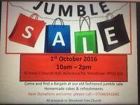 JUMBLE SALE - 1st Oct 10am - 2pm