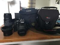 Canon EOS 550d digital camera with 3 lenses and 2 bags