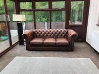 Chesterfield 3 Seater Brown Leather Sofa On Castors