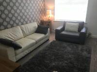 Grey & cream leather sofas