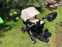 Bugaboo Buffalo chassis frame seat and carrycot, rain cover, footmuff and summer liner