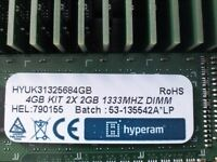 hyperam 4gb (kit 2x2gb) 1333mhz brand new 50x