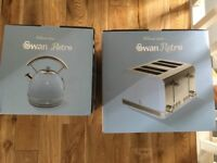 Brand new unopened retro Swan blue toaster and kettle