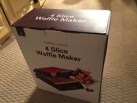 Andrew James Waffle Maker, 4 slice, stainless steel