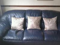 ***** Free Navy Leather 2 Seater & 3 Seater Sofa *****