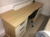 Custom made oak and cream desk with drawers - slight markings