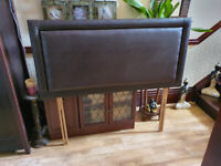 Dark Brown Faux Leather Headboard For Double Bed