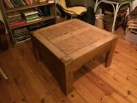 Antique vintage old pine coffee table