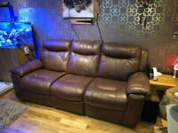 DFS Real Leather 3 seater recliner Sofa
