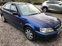 Honda Civic 1.4I S 1396cc Petrol Automatic 5 door hatchback V Reg 29/10/1999 Blue