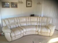 CREAM CURVED ELECTRIC RECLINER CORNER SUITE - MUST GO ASAP - FREE DELIVERY SOME AREAS - £425