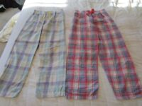 Girl's pyjama trousers, 2 pairs, 11-12 yrs, blue check, pink check