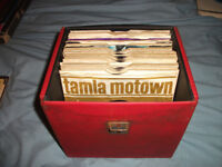 boxes of mowtown singles and early soul, funk