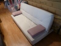 Ex Display Designer White 3 Seater Sofa bed With 2 Pink Arm Cushions