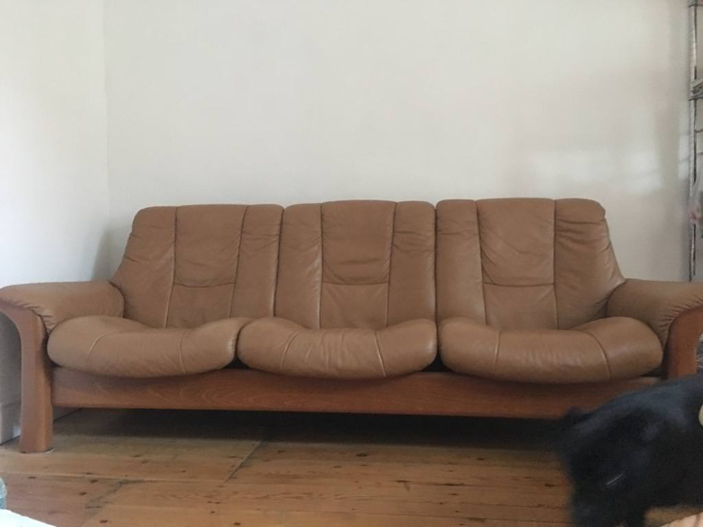 Sofa ekornes 3 seat scandi tan leather Reduced to sell!