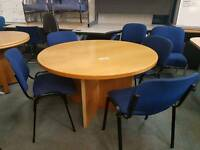 Round office meeting table and 4 stackable chairs