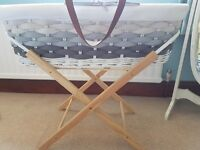Beautiful white and grey wicker moses basket