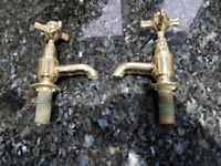Gold basin taps in traditional style