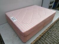 Pink Double Bed with Mattress and Headboard - Good Condition