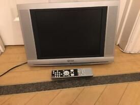 LCD small silver TV television with remote and wall bracket (please read description)