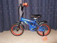 KidCool Samy 14-Inch Bike with Stabilisers - Blue