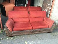 TWO BROWN / RED FABRIC LARGE 2 SEATER SOFAS,CAN DELIVER