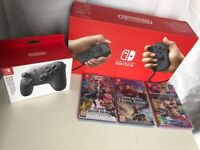 Nintendo Switch Grey with Life, Pro Controller and 3 games