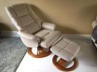 Reclining swivel chair and footrest.