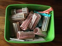Box of old-fashioned hair rollers