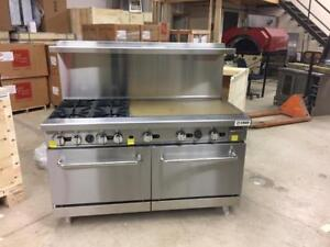 """4 BURNER WITH 36"""" FLAT GRILL OVEN"""