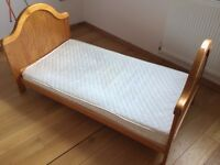 Mothercare Pine Cot/Toddler Bed & Matress