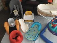 Baby equipment job lot 8 items including Bumbo