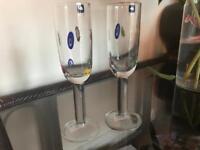 2 Handmade Leonardo Millefiori Champagne Flutes