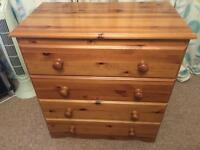 Wooden 4 Drawer Chest For Sale
