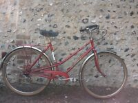 Ladies red vintage French Peugeot bicycle, £70