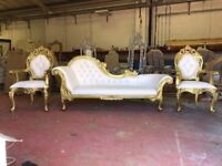 BRAND NEW Paris 3 piece Chaise Longue Set - Gold Lounge Wedding Luxury Sofa Furniture French Throne