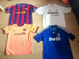 Classic vintage Barcelona and Real Madrid kits shirts